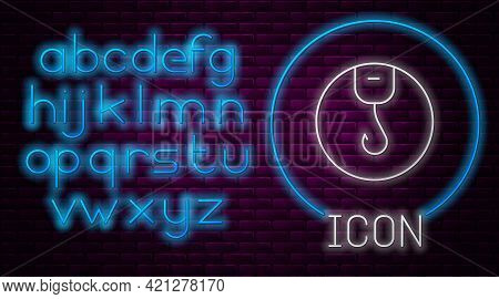 Glowing Neon Line Fishing Hook Icon Isolated On Brick Wall Background. Fishing Tackle. Neon Light Al