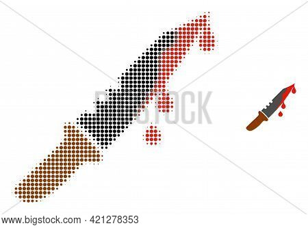 Blood Knife Halftone Dotted Icon Illustration. Halftone Pattern Contains Round Points. Vector Illust