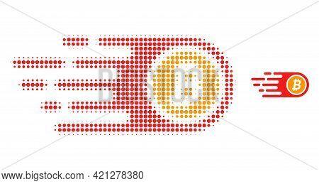 Bitcoin Halftone Dot Icon Illustration. Halftone Array Contains Circle Points. Vector Illustration O
