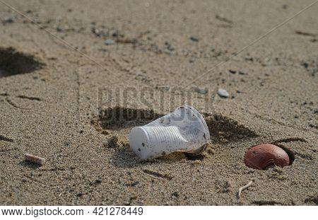 Plastic Debris Pollution Discarded On Sea Coast Ecosystem, Cigarette Butts Waste, Nature Contaminati