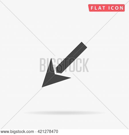 Down Left Arrow Flat Vector Icon. Hand Drawn Style Design Illustrations.