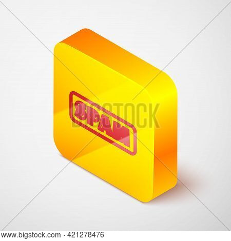 Isometric Line Spam Icon Isolated On Grey Background. Yellow Square Button. Vector