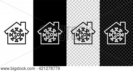 Set Line Stay Home Icon Isolated On Black And White Background. Corona Virus 2019-ncov. Vector.