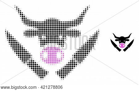 Butchery Knives Halftone Dotted Icon Illustration. Halftone Pattern Contains Circle Elements. Vector