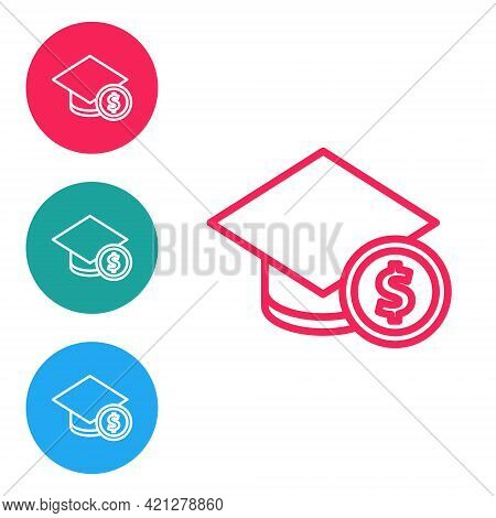 Red Line Graduation Cap And Coin Icon Isolated On White Background. Education And Money. Concept Of