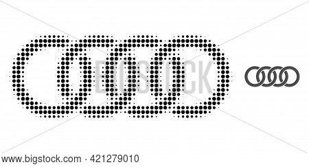 Circle Chain Halftone Dot Icon Illustration. Halftone Pattern Contains Circle Elements. Vector Illus