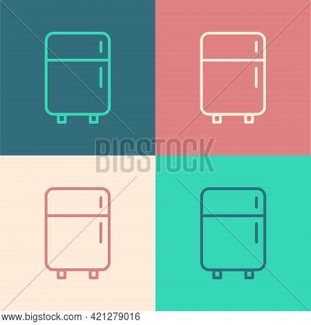 White Refrigerator Icon Isolated On Black Background. Fridge Freezer Refrigerator. Household Tech An