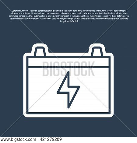 Blue Line Car Battery Icon Isolated On Blue Background. Accumulator Battery Energy Power And Electri