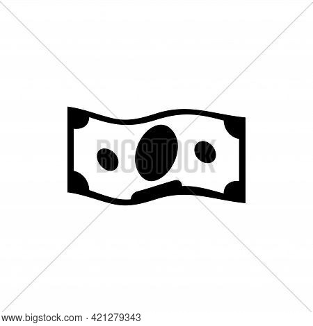 Waving Banknote, Currency Money, Cash. Flat Vector Icon Illustration. Simple Black Symbol On White B