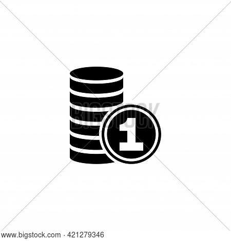 Stack Of Coins And One Coin, Money. Flat Vector Icon Illustration. Simple Black Symbol On White Back