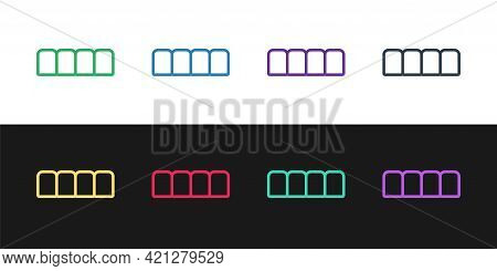 Set Line Dentures Model Icon Isolated On Black And White Background. Teeth Of The Upper Jaw. Dental