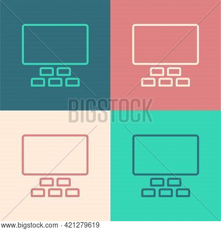Pop Art Line Cinema Auditorium With Screen And Seats Icon Isolated On Color Background. Vector