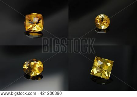 Natural Custom Cut Citrine Gemstones. Round, Oval, Square, Checker Pillow Shape Faceted Bright Yello