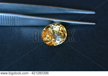 Natural Yellow Uneven Distributed Color In Crystal Massif Of Oval Faceted Loose Citrine Gemstone Set