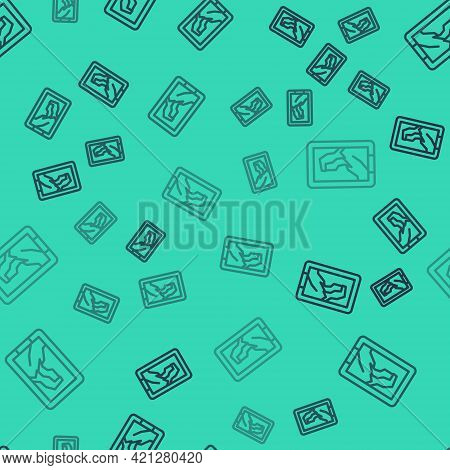 Black Line Portrait Picture In Museum Icon Isolated Seamless Pattern On Green Background. Vector
