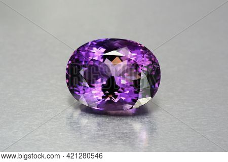 Natural Mined Deep Purple Violet Color Oval Faceted Huge Amethyst Loose Gemstone From Uruguay. Perfe
