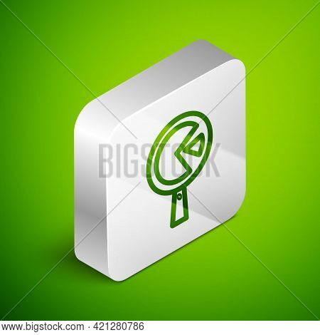 Isometric Line Omelette In Frying Pan Icon Isolated On Green Background. Omelet In A Skillet. Silver