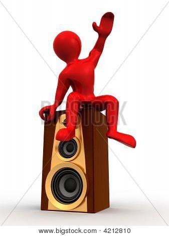 Man Sitting On Loudspeakers. 3D
