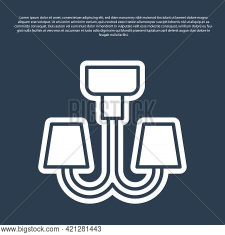 Blue Line Chandelier Icon Isolated On Blue Background. Vector
