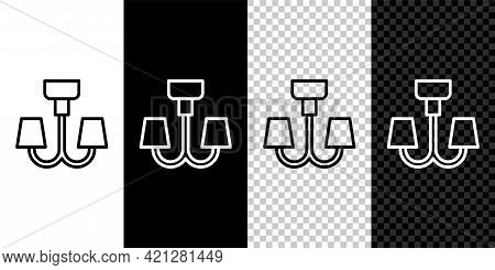 Set Line Chandelier Icon Isolated On Black And White Background. Vector