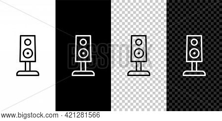 Set Line Stereo Speaker Icon Isolated On Black And White Background. Sound System Speakers. Music Ic