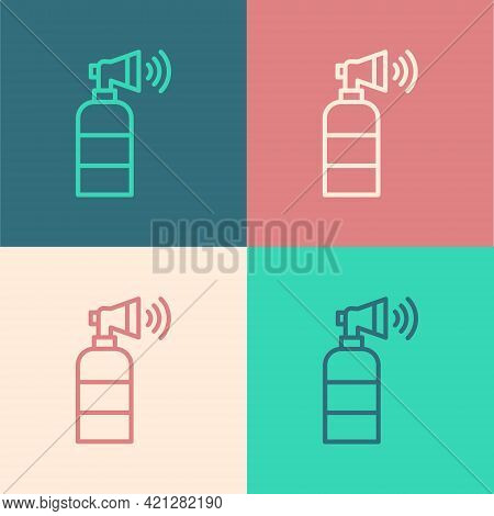 Pop Art Line Air Horn Icon Isolated On Color Background. Sport Fans Or Citizens Against Government A