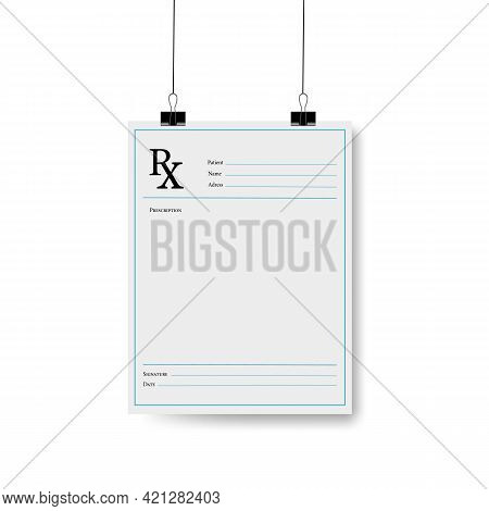 Vector Illustration Of Rx Pad Template.healthcare, Hospital, And Medical Diagnostics Concept.