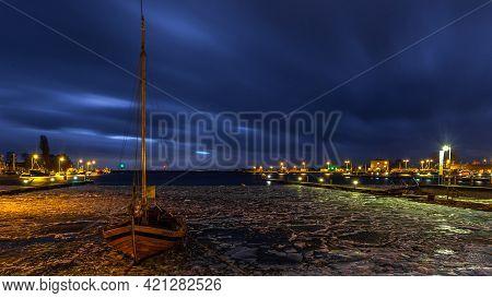 Jastarnia, Hel Peninsula, Poland - 31 January 2016: Boat Moored In The Seaport. Small Town Located O