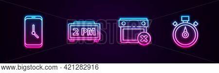 Set Line Alarm Clock App Mobile, Digital Alarm, Calendar Date Delete And Stopwatch. Glowing Neon Ico