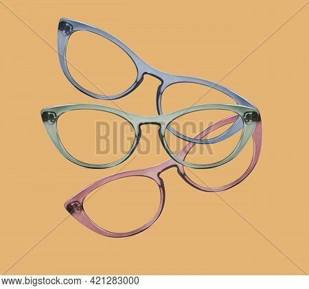 Colorful Glasses Collage Isolated On Red, Green And Beige Background, Ideal Photo Template For Displ