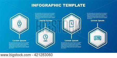 Set Line Wrist Watch, Location With Clock, Alarm App Mobile And Digital Alarm. Business Infographic