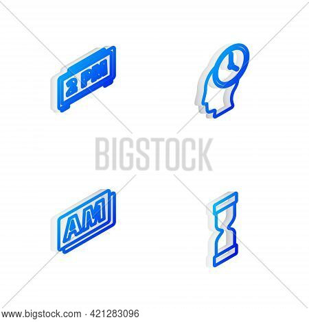 Set Isometric Line Time Management, Digital Alarm Clock, Clock Am And Old Hourglass Icon. Vector