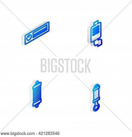 Set Isometric Line Car Muffler, Audio, Shock Absorber And Icon. Vector