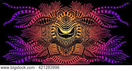 Fantastic Psychedelic Abstract Shamanic Ornament, Gradient Neon Color, Isolated Black Background.