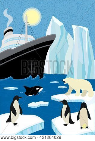 Winter Hand-drawn Poster North Shipping In Wildlife. Sail Icebreaker And Iceberg In Northern Ocean.