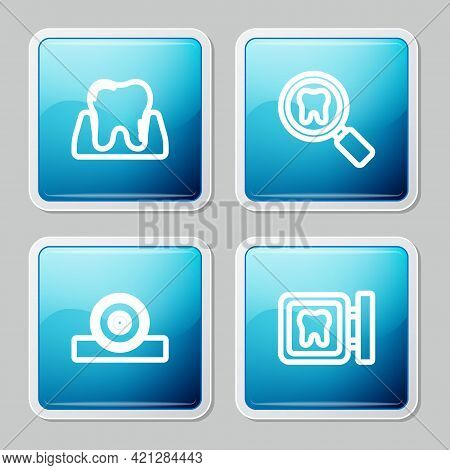 Set Line Tooth, Dental Search, Otolaryngological Head Reflector And Clinic Location Icon. Vector