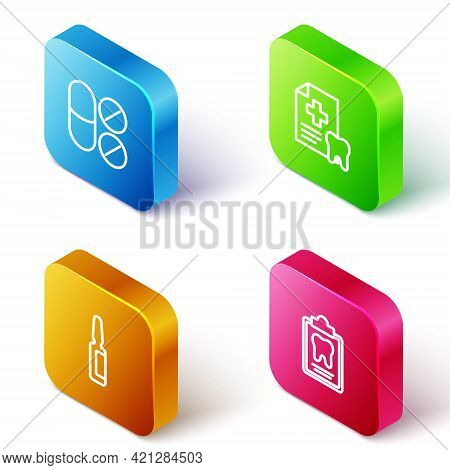 Set Isometric Line Painkiller Tablet, Dental Card, And Icon. Vector