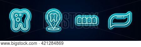 Set Line Tooth With Caries, Dental Clinic Location, Dentures Model And Toothpaste. Glowing Neon Icon