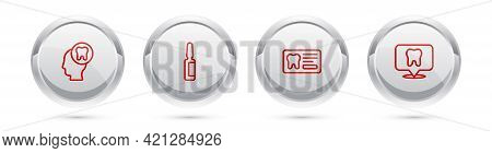 Set Line Human Head With Tooth, Painkiller Tablet, Dental Card And Clinic Location. Silver Circle Bu