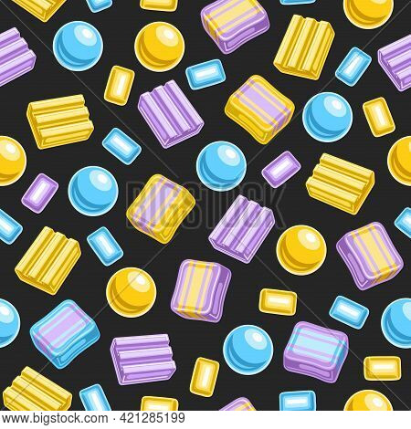 Vector Bubble Gum Seamless Pattern, Square Repeating Bubblegum Background For Wrapping Paper, Poster