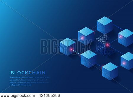 Block Chain Concept Background. Technology Digital Big Data Blocks  With Copy Space For Text. Vector