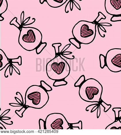 Fantasy Sketch Icon With Doodle Love Potion Pattern For Print Design. Heart Icon, Heart Vector Icon,