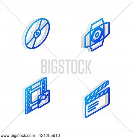 Set Isometric Line Movie Spotlight, Cd Or Dvd Disk, Play Video And Clapper Icon. Vector