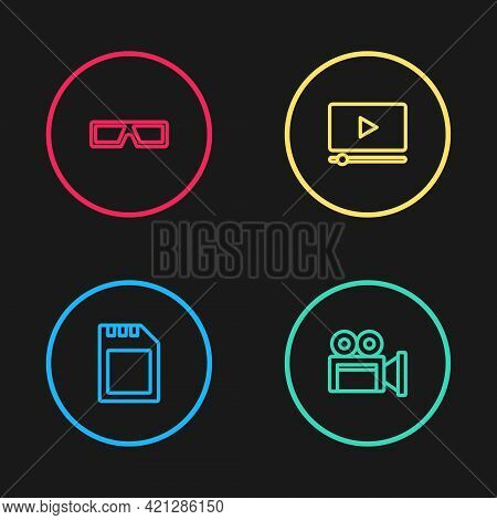 Set Line Sd Card, Cinema Camera, Online Play Video And 3d Cinema Glasses Icon. Vector