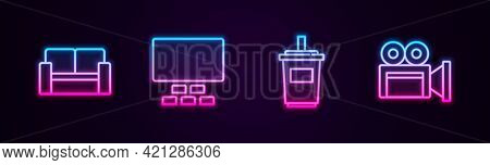 Set Line Cinema Chair, Auditorium With Seats, Paper Glass Water And Camera. Glowing Neon Icon. Vecto
