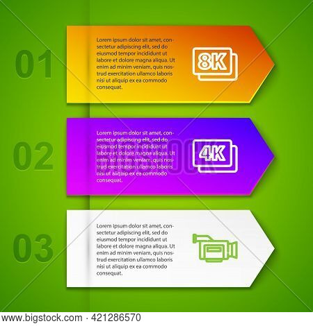 Set Line 8k Ultra Hd, 4k, Cinema Camera And Online Play Video. Business Infographic Template. Vector