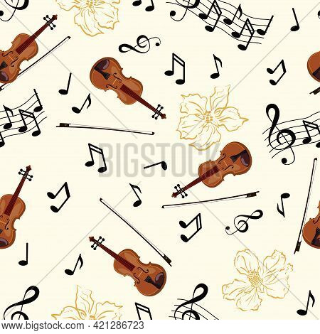 Seamless Pattern With Violins, Flowers And Notes On White Background. Music Theme, Vector Illustrati