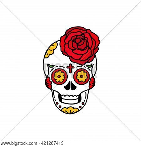 Sugar Skull For Mexican Day Of The Dead With Ethnic Floral Decoration For The Holiday. Mexican Mask.