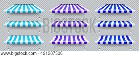 Shop Sunshade With Metal Mount. Realistic Blue, Violet Striped Cafe Awning. Outdoor Market Tent. Roo