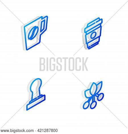 Set Isometric Line Coffee Cup To Go, , Tamper And Bean, Branch Icon. Vector